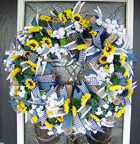 Country-Blue-Sunflower-Wreath-Decor-Fall-Spring-Summer-Front-Door-Burlap-Wedding-Farmhouse-Decor-French-Country-Decor