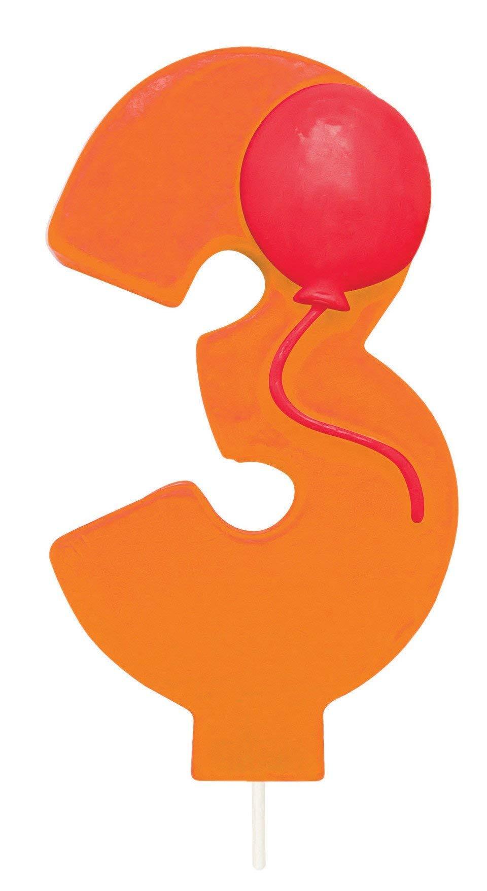Creative Converting 104203 Numerical Balloon Candle 3'' Orange