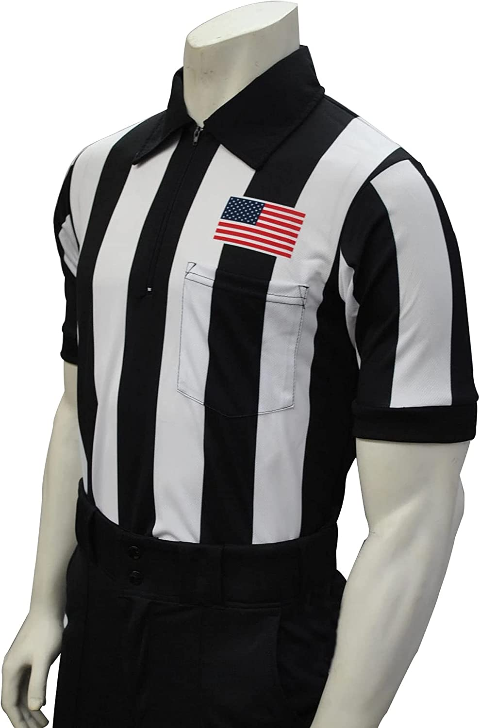 Smitty Official's Apparel Smitty Men's Short Sleeve Football Referee Shirt with 2 1/4 inch Stripes & USA Flag: Sports & Outdoors
