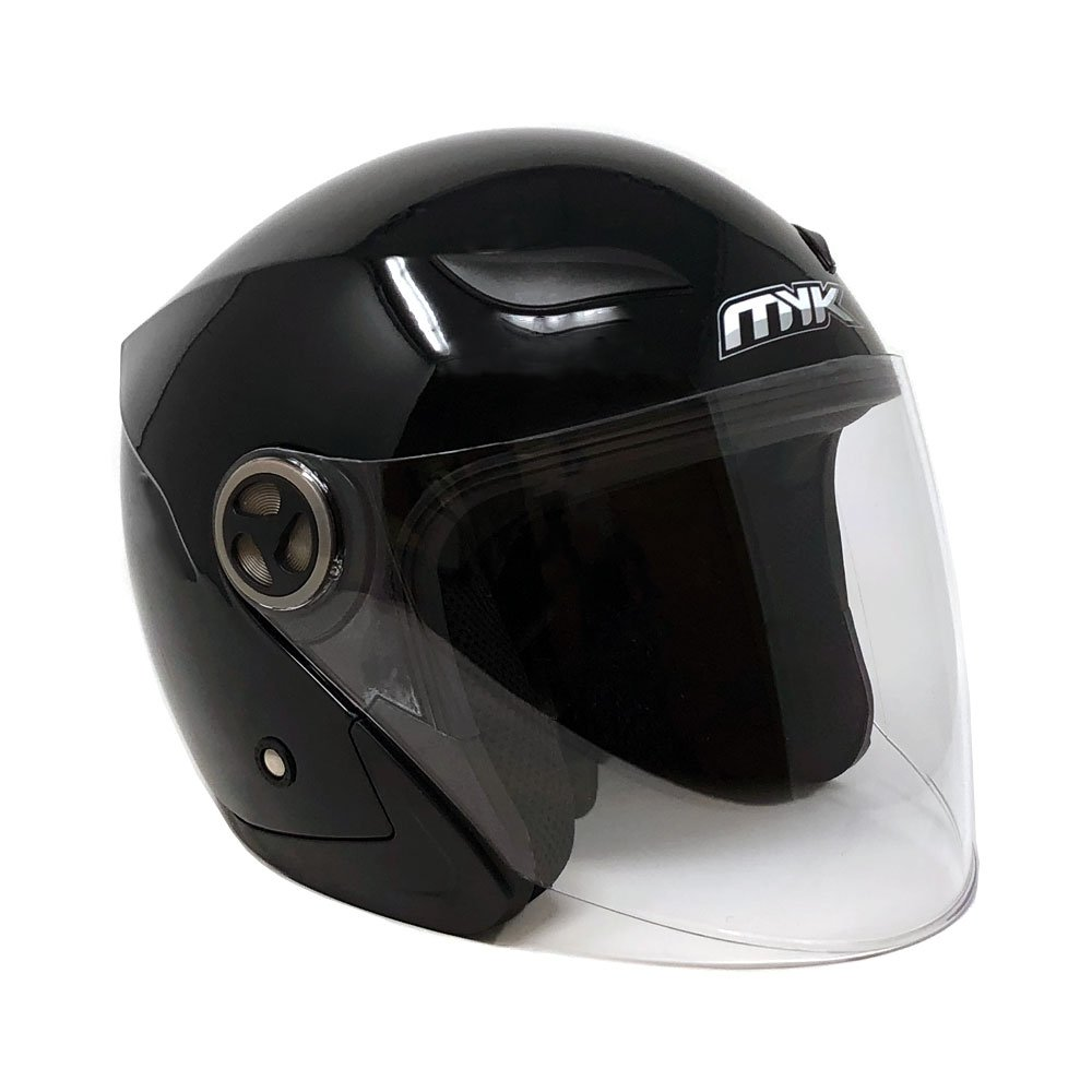 MYK Powersports Helmets Open Face Flip Up Clear Shield - DOT Street Legal - Shiny Black (Large) Model 619
