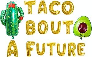 JeVenis set of 3 Taco Bout a Future Balloons Taco Bout a Future Banner Taco Bout a Party Balloons for Fiesta Bachelorette Decor Fiesta Graduation Decor Cactus Balloons