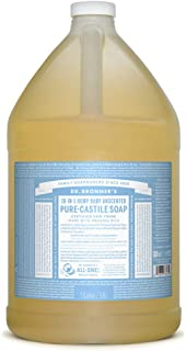 product image for Dr. Bronner's - Pure-Castile Liquid Soap (Baby Unscented, 1 Gallon) - Made with Organic Oils, 18-in-1 Uses: Face, Hair, Laundry and Dishes, For Sensitive Skin and Babies, No Added Fragrance, Vegan