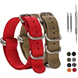 SIMCOLOR Zulu Nylon Watch Bands,2 Pack Nylon Replacement Watch Straps with Heavy Duty Buckle 18mm 20mm 22mm or 24mm