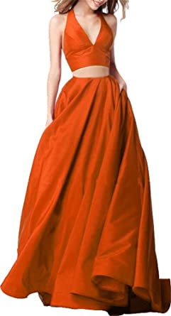 Red Prom Dresses 2018 Tow Piece Long With Pocket Orange US22 Plus Size