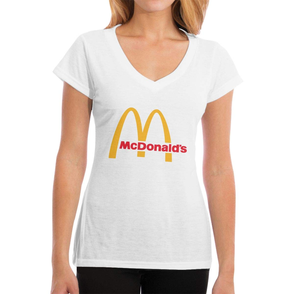 Lakssn Women's Youth Girls McDonalds Logo Tee Shirts Short Sleeve T Shirt for Women Girls T-Shirt Round Neck Cotton Tshirt White XXL by Lakssn