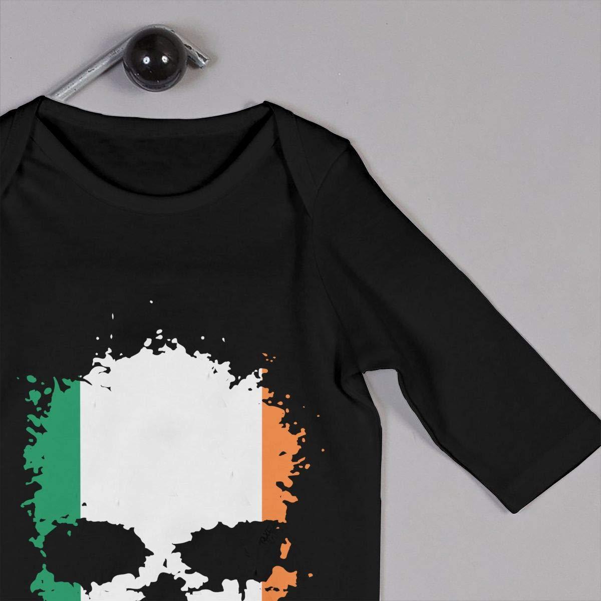 Mri-le1 Baby Girl Coverall Irish Flag Splatter Skull Baby Rompers