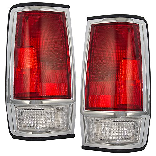 Driver and Passenger Taillights Tail Lamps with Chrome Trim Replacement for Nissan Pickup Truck 2655580W00 2655080W00 - Nissan 1986 Pickup 1985 Tail