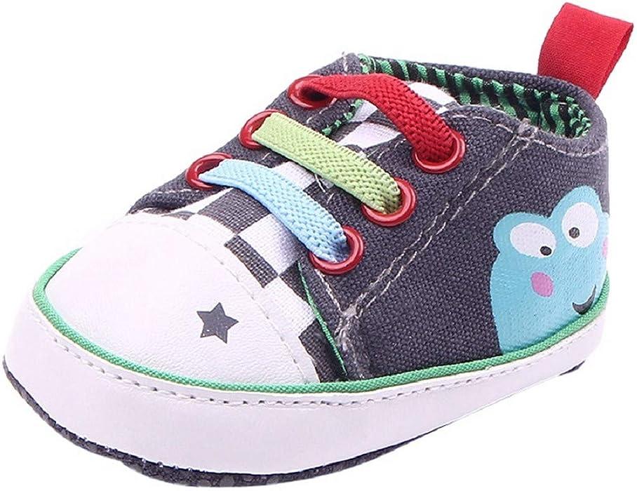 093e1b19 Toddler Canvas Shoes FAPIZI Boy Girl Newborn Crib Soft Sole Lace-up Frog  Shoe Infants