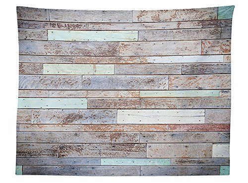 vipsung Rustic Home Decor Tablecloth Retro Old Fashion Lumber Wall Boarding Building Panel Structure Dining Room Kitchen Rectangular Table Cover Brown Light (Butterfly Tie Dye Bandana)