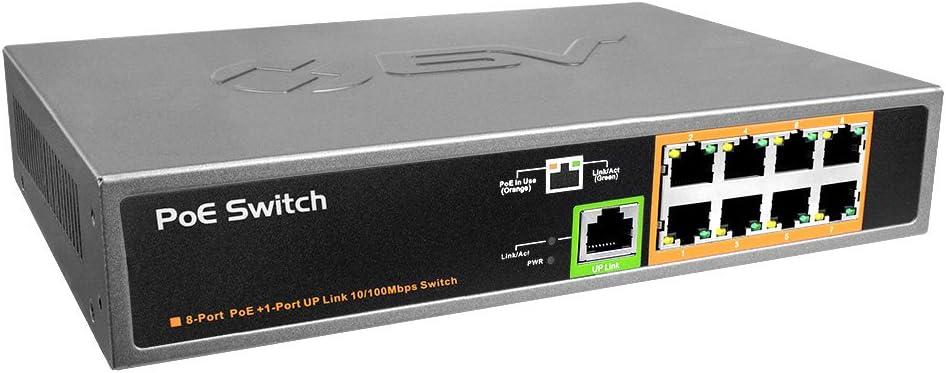 BV-Tech 9 Port PoE+ Switch (8 PoE+ Ports | 1 Uplink Port) – 120W – 802.3af/at