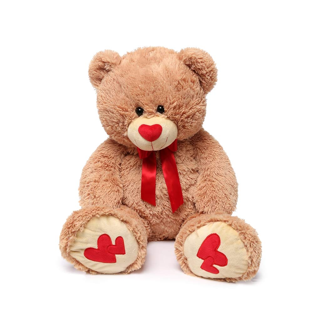 MorisMos Giant Teddy Bear with Red Love Footprint Soft Brown Bear Stuffed Animal Plush Bear for Girlfriend Kids,35 Inches by MorisMos