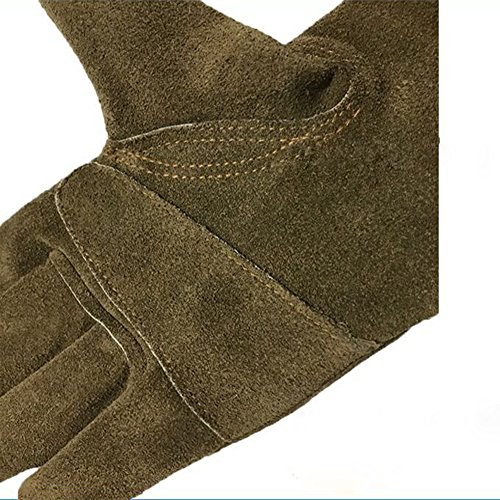 Genuine Leather Men's Welding Gloves Cut-proof Labor Gloves Thicken Extreme Heat Resistant Coffee Color Work Gloves Camping/Gardening Gloves DHST08 (XL) by QEES (Image #2)