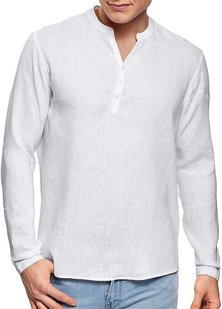 Blusa De Lino para Hombre Camisa Henley con Cuello Basic En V De Manga Larga Algodón De Lino Loose Fit Vintage Color Sólido Tops Camiseta (Color : Blanco, Size : S): Amazon.es: