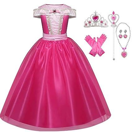 IWFREE Disfraz de Princesa Aurora La Bella Durmiente Niña Vestido Elegante Traje Disfraces Holloween Fiesta Navidad Boda Gala Ceremonia Aniversario ...