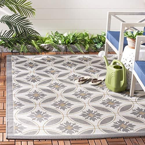 Safavieh Courtyard Collection CY7844-78A21 Light Grey and Anthracite Indoor/ Outdoor Area Rug (9' x 12') ()