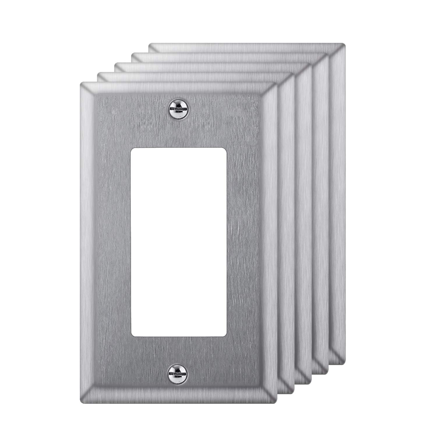 [5 Pack] BESTTEN 1-Gang Decorator Metal Wall Plate, Anti-Corrosion Stainless Steel Outlet and Switch Cover, Industrial Grade Stainless Steel, Standard Size, Screw Included, Silver