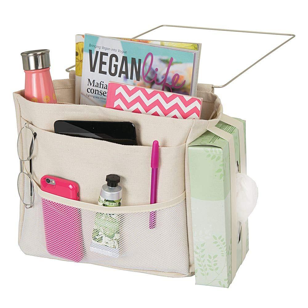 tablette sac de rangement pratique pour la bouteille deau mDesign sac de chevet /à accrocher t/él/écommande poche de lit spacieuse en coton beige montre ou autres avec 3 poches
