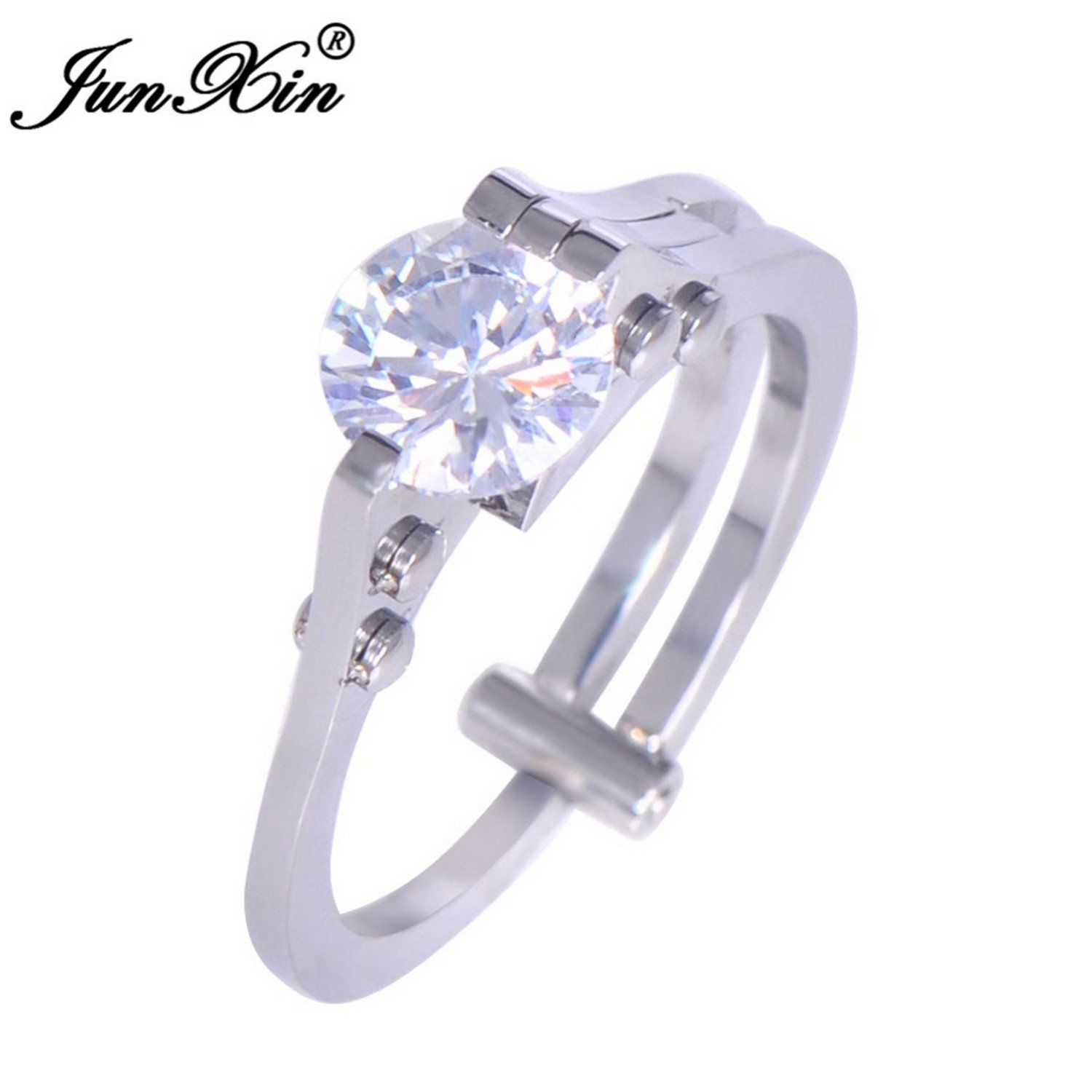 Slyq Jewelry Vintage Male Female Round AAA Zircon Ring 316L Stainless Steel Ring Wedding Rings for Men and Women Fashion Jewelry