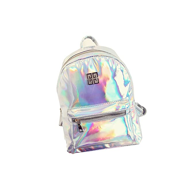 xy fancy women fashion newgirl hologram holographic laser pvc school backpack bag silver