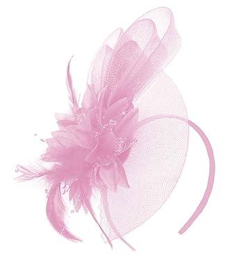 88a6091527e61 Caprilite Baby Pink Fascinator Headband Flower Wedding Ascot Races Net Hat  Feathers  Amazon.co.uk  Clothing