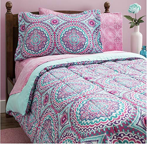 Design Studio Thalia 8-Piece Bag, Comforter with Sheets Medallion, Bohemian, Boho Chic, Microfiber, Teen, Girls, Bedding,Full, Twin Size, Purple/Aqua (Medallion Sheets)