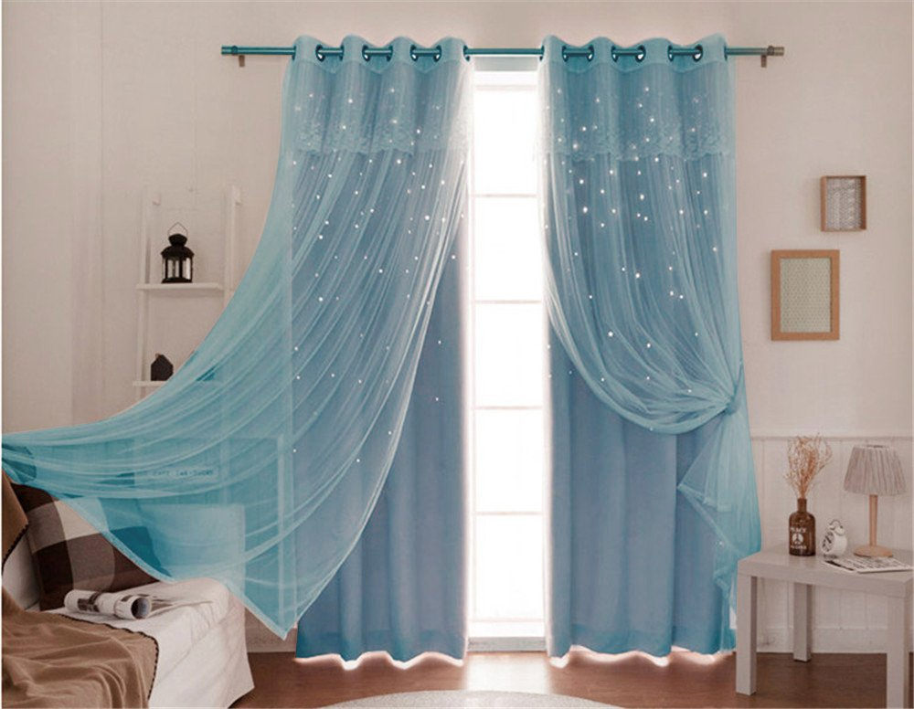 Lotus Karen Blue Princess Grommet Blackout Curtains For Girls Bedroom Romantic Decorated Hollow Stars Curtains With Lace Valance For Living Room