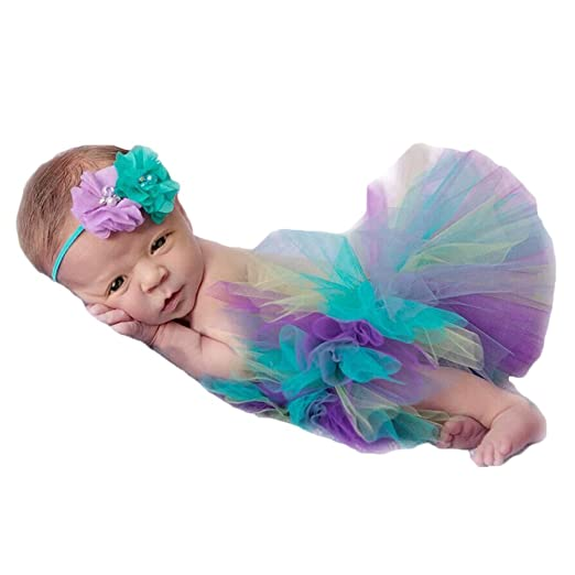 Amazon.com  Vemonllas Fashion Cute Newborn Girl Baby Photography Props  Outfits Tutu Dress Flower Headdress  Clothing 76930f8077c
