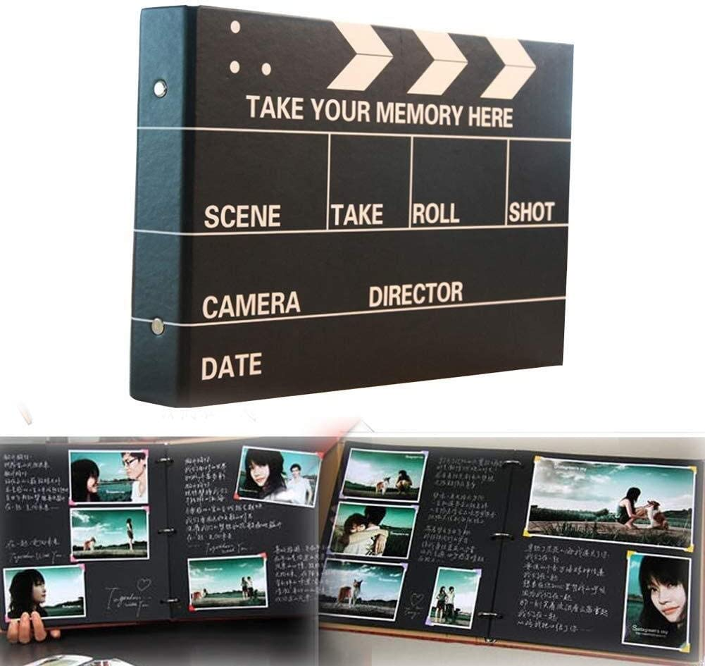 Kaimaily Memory Book 10 Inch​ Photo Album Scrapbook with 25 Pages Black Retro Photo Scrap Book DIY Album Book Photo Books Anniversary Travel Memory Scrapbooking​​ Black