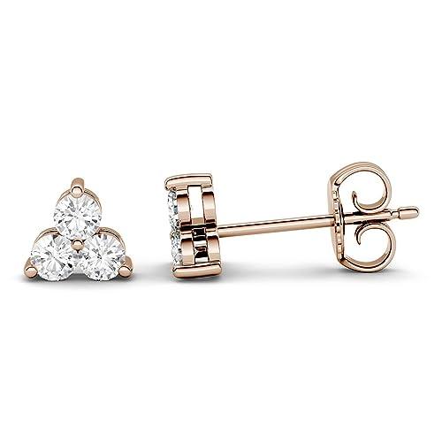 290e14c7b8d57e Charles & Colvard Forever One paio di orecchini a bottone - oro rosa con 14K  -
