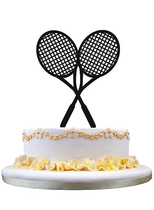 Amazon.com: Raquetas de Tenis torta de cumpleaños Topper ...