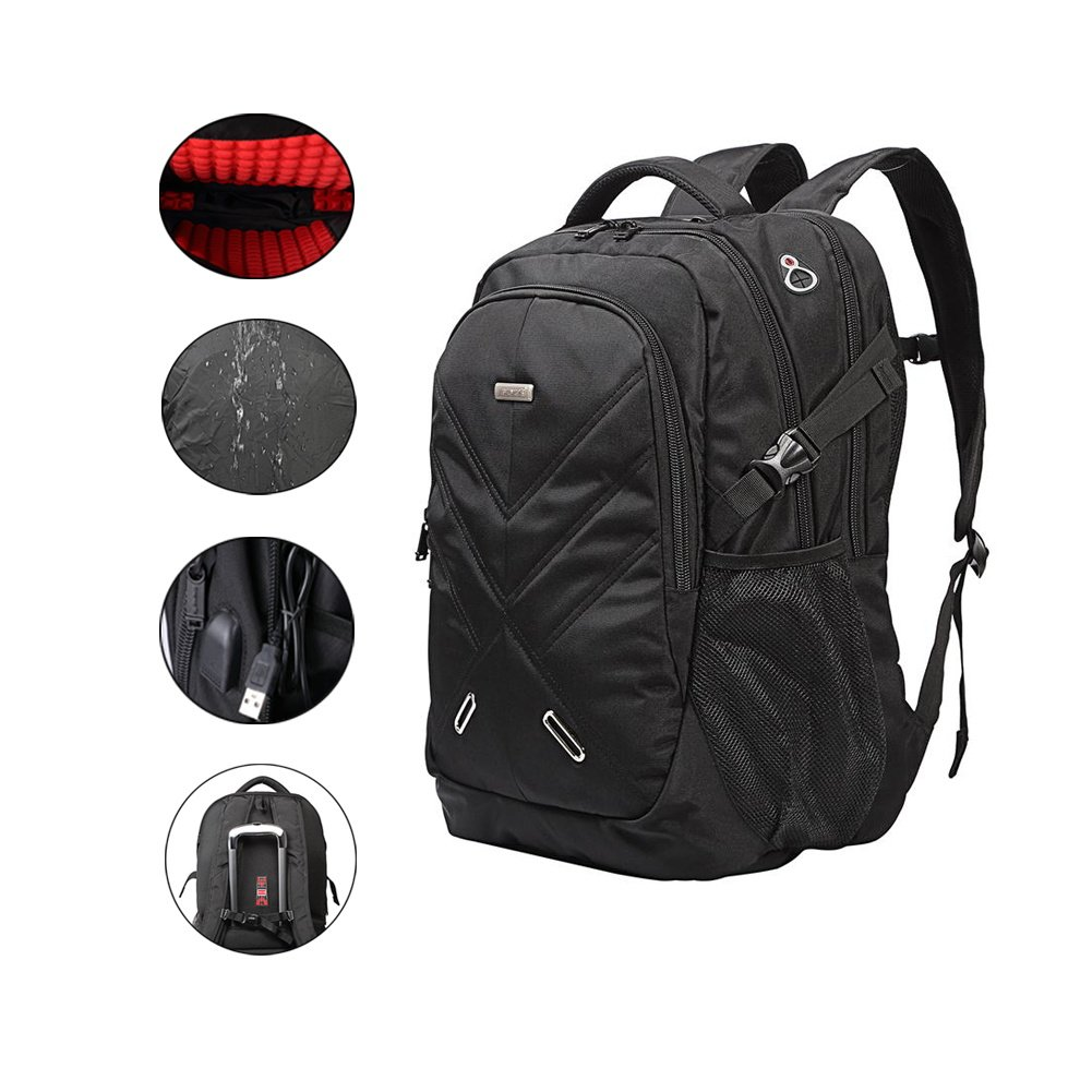 Backpack for Laptops Up To 18.4 Inch Hiking Backpack Water Resistant Travel Backpack Shockproof Laptop Backpack with USB Charging Port and Waterproof Rain Cover (Black)