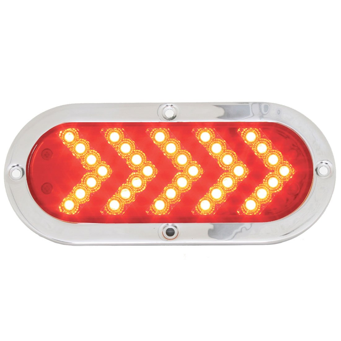 GG Grand General 77133 Oval Red/Clear Arrow 35-Led Sequential with S.S. Bezel Kit by GG Grand General