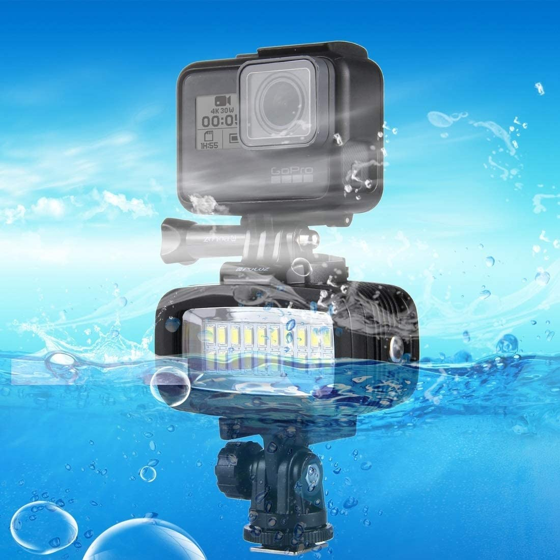 JINUS 20 LEDs 40m Waterproof IPX8 Studio Light Video /& Photo Light with Hot Shoe Base Adapter /& Quick Release Buckle /& Long Screw /& 2 x Filter Plates for GoPro HERO5 //4//3 //2//1