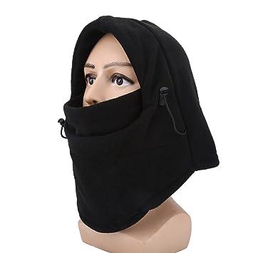 2pcs Pasamontañas Mascara Protección Cuello Caliente para Ciclismo Esquí Deportes Invierno Unisexo (Color : Negro