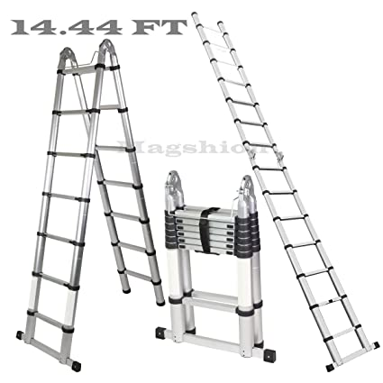 Magshion A-Frame 14.44 FT Aluminum Ladder Telescopic Extension Tall ...