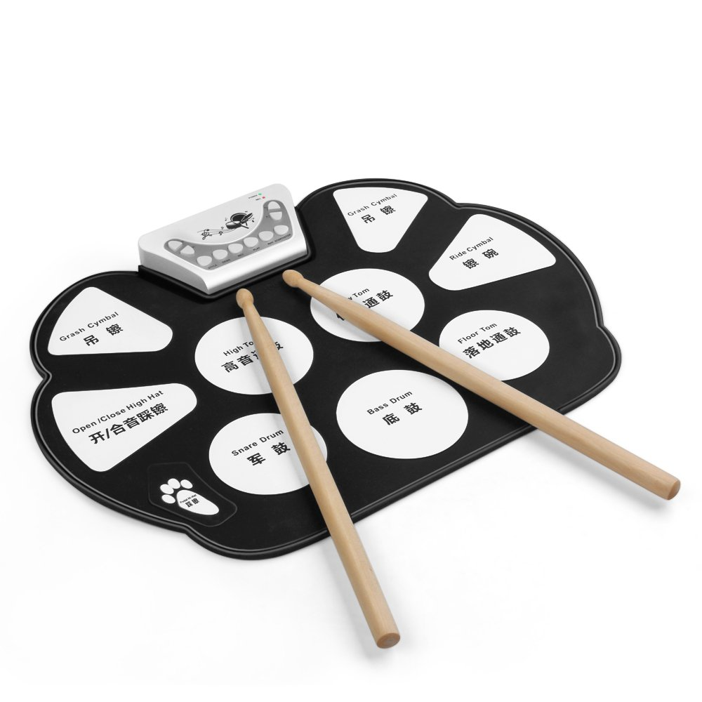 Flexzion Portable Roll Up Drum Pad Set Kit - Digital Electronic Foldable Flexible Silicone Sheet 9 Pads with Drum Stick and Foot Switch Pedal Supports USB MIDI output