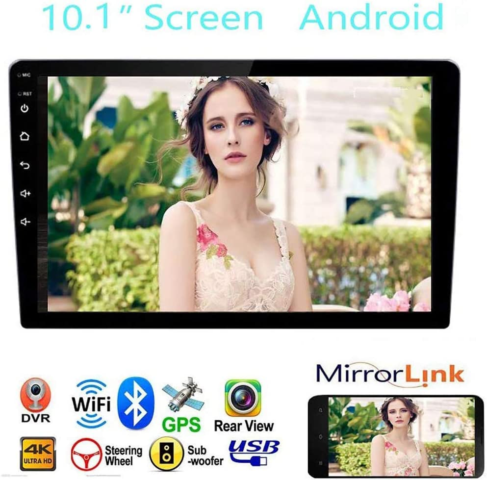 """Support Built-in WiFi GPS Navigation Bluetooth 10.1/"""" 2.5D Curved HD Touch Screen Car Radio Android/&iOS Mirror Link with Subwoofer Car Stereo Double Din Car Stereo Receiver"""