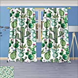 Nalahome Blackout Room Darkening Curtains Green Mexican Texas Plants Spikes Like Art Print White Light Pink and Lime Green Window Panel Drapes Grommet Top 96W x 96L inch