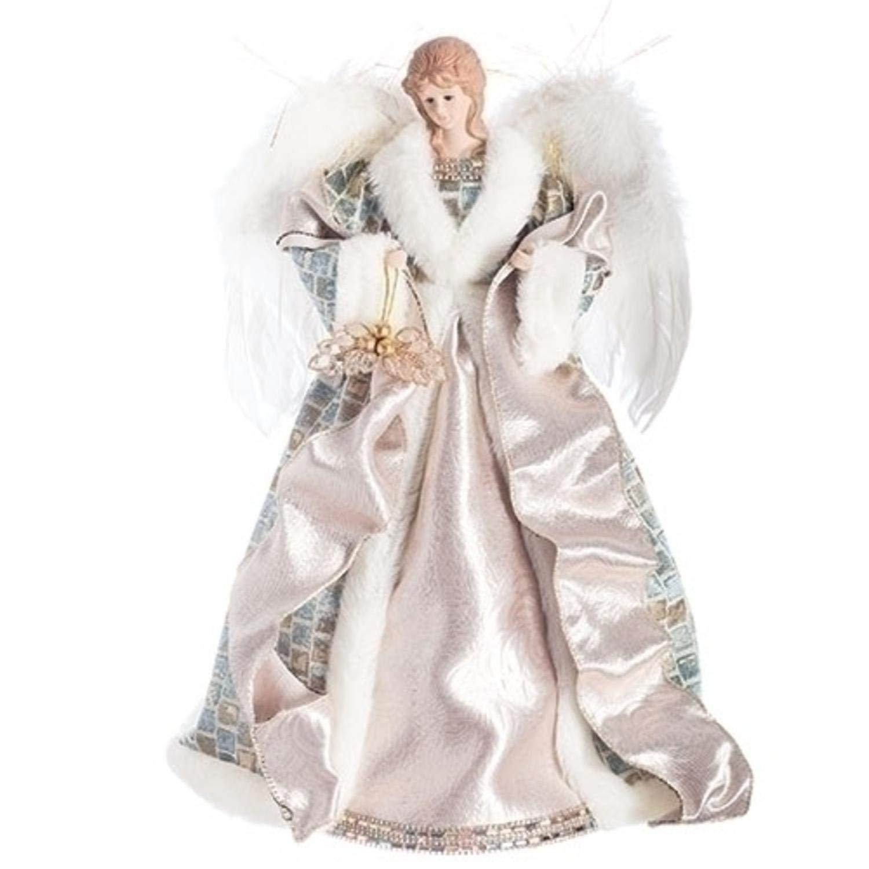 ローマン 16インチ ホワイトとベージュ エンジェル ゴールドの葉とベリーを抱えている天使 クリスマステーブルトッパー   B07GWZK77N