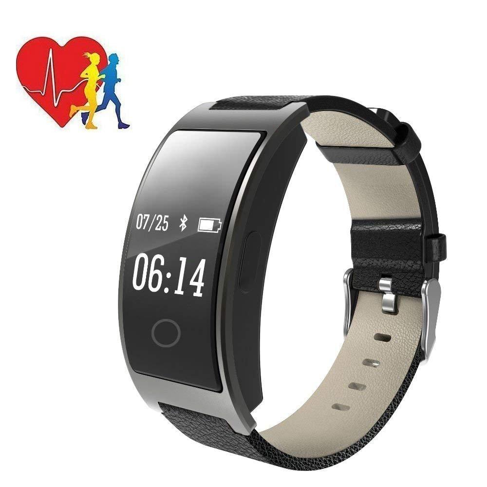 Hangang Fitness Trackerスマートブレスレットスポーツ腕時計ダイナミックハートレートモニターDeep/ライトスリープの追跡、コール、テキスト&カレンダーアラートカロリーステップトラック防水リストバンド  ブラック B07C9915T6