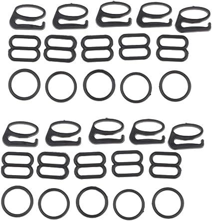 80 Noir Soutien-gorge Sangle d/'ajustement Anneaux 8 mm soutien-gorge accessoires Solutions Multi-Purpose