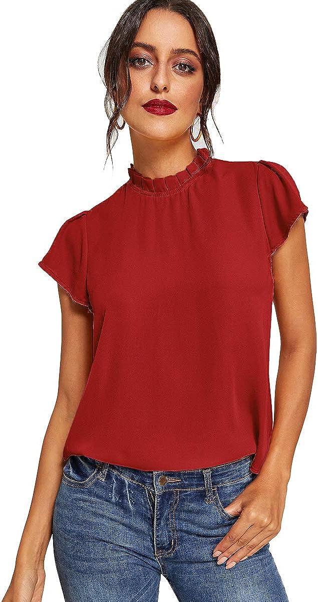 Romwe Women's Short Sleeve Mock Neck Elegant Summer Chiffon Blouse Top