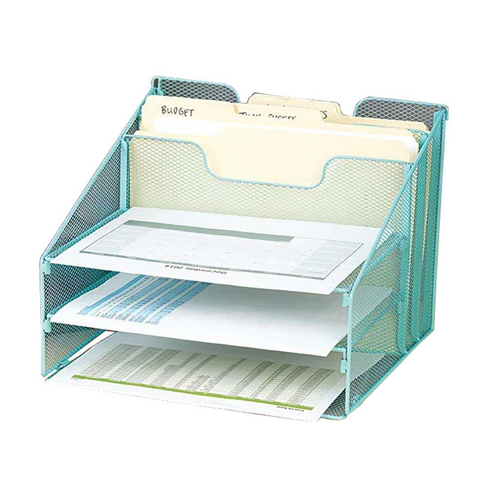 VANRA Schreibtisch-Ablage Metall Gitter zum Sortieren Organisieren f r Schreibtisch mit 3 Briefablagen und 2 vertikal-senkrechten Sektionen, Grü n