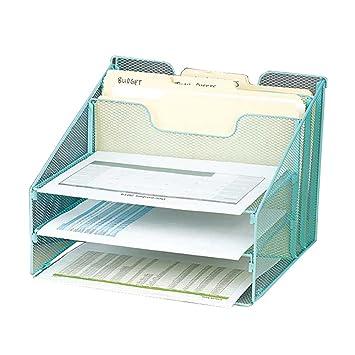 VANRA Malla Metálica Escritorio Organizador de archivos Organizador Bandeja de escritorio Organizar con 3 bandejas de