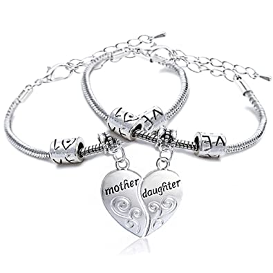 Lauhonmin Family Gift ther love between Mother and Daughter is forever Pendant Bracelet Bangle YKfahl