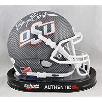 Barry Sanders Autographed Oklahoma State Cowboys Steel Cross Hatch Mini Helmet- JSA W Auth White photo