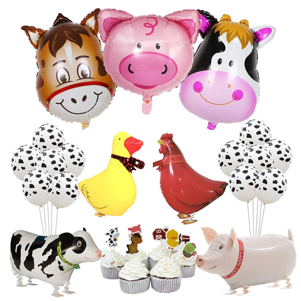 KREATWOW Farm Animal Party Decorations Farm Walking Balloons Cupcake Toppers for Boy or Girls Barnyard Birthday Party Supplies