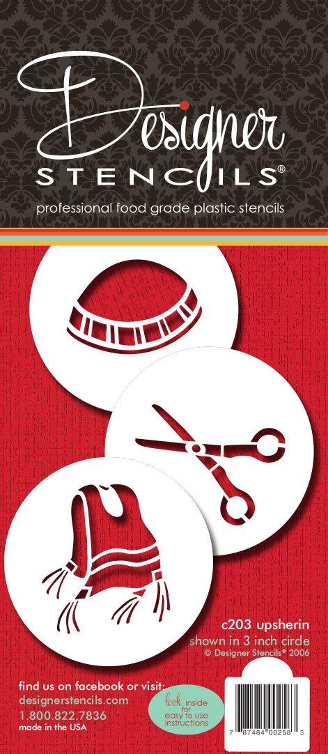 Designer Stencils C203 Three Upsherin Symbols Cookie Stencils, Beige/semi-transparent