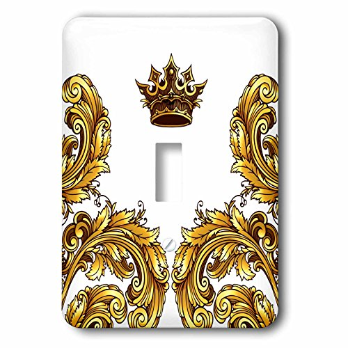 3dRose lsp_255014_1 Pretty Gold Royal Flourish Corners With A Crown Toggle Switch