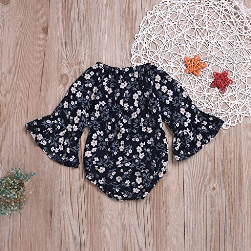 NUWFOR Newborn Infant Baby Girl Floral Flower Rompert Bodysuit Outfits Clothes (Navy,3-6 Months) by NUWFOR (Image #2)